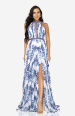 TERANI Blue and White Floral Print Pleated Gown with Beading