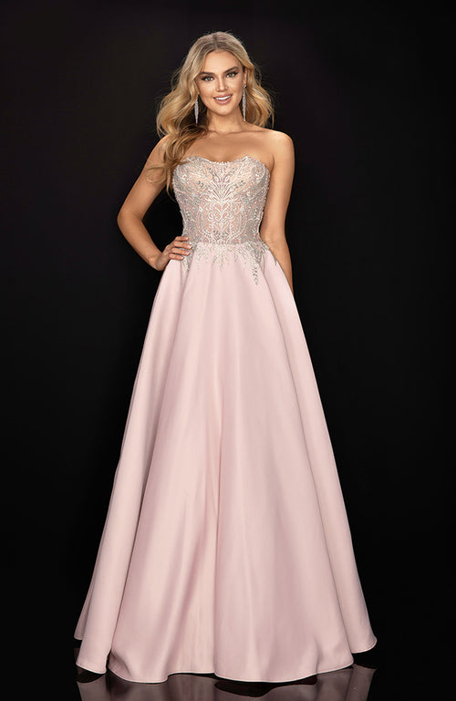 Beaded Top Sweetheart Gown with Satin Ball Skirt