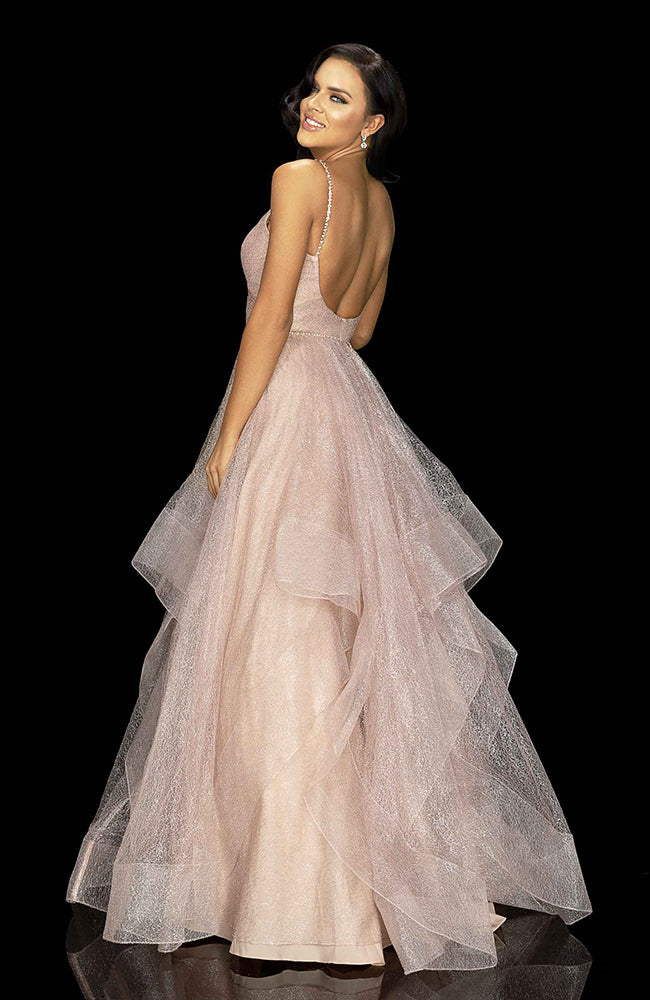 TERANI V-Neck Shimmery Tulle Layered Gown with Beading