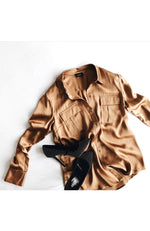 Liu Jo Silk Blouse with Chest Pockets Sandy Gold
