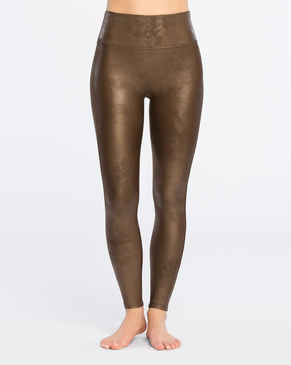 Spanx GunMetal Faux Leather Leggings faux cuir métal