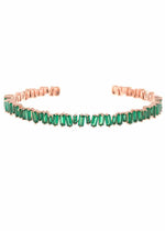Emerald and Rose Gold bracelet bangle