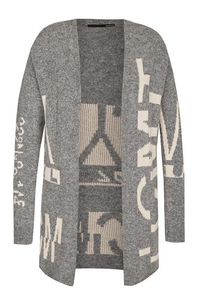 Le Comte Long Cardigan with Lettering Print Details