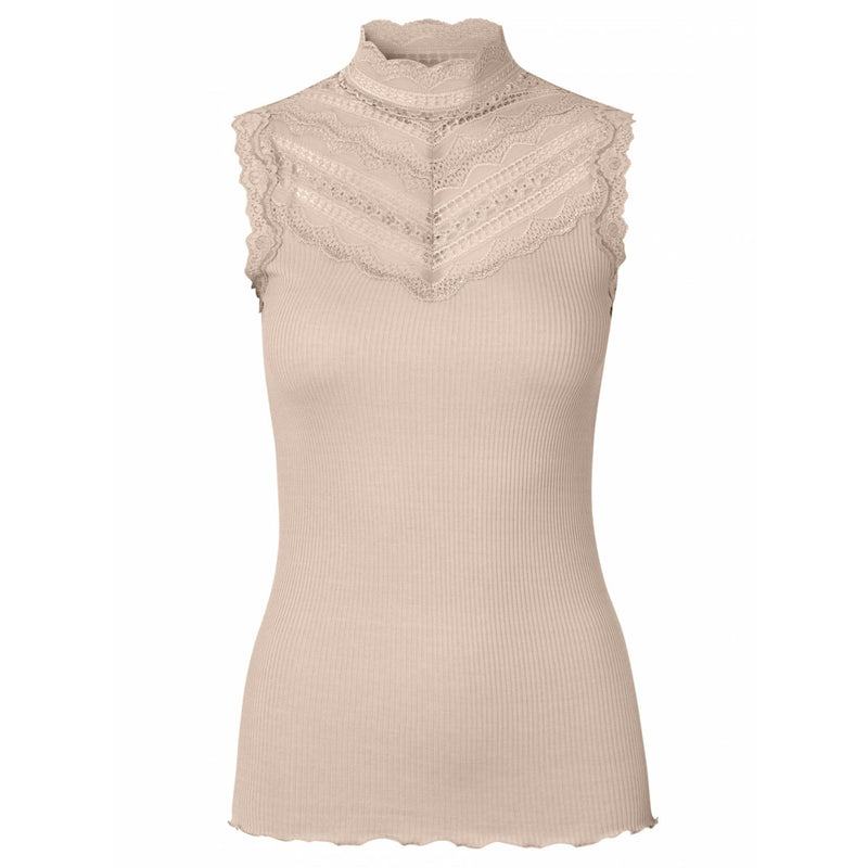 Ribbed Top with Lace chest. Top avec dentelle