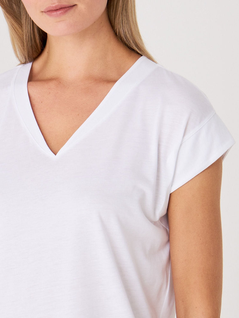 REPEAT V-Neck Cap Sleeve T-Shirt White