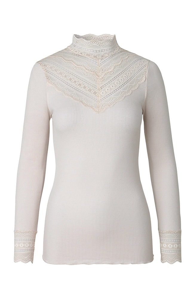 High Neck Long Sleeve Ribbed Top with Lace chest. Top avec dentelle