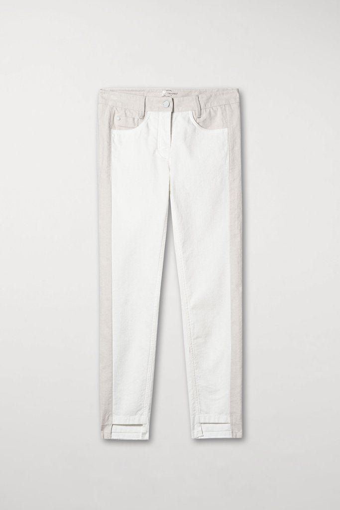 Pantalon Luisa Cerano Color Block Jean Pants White Beige