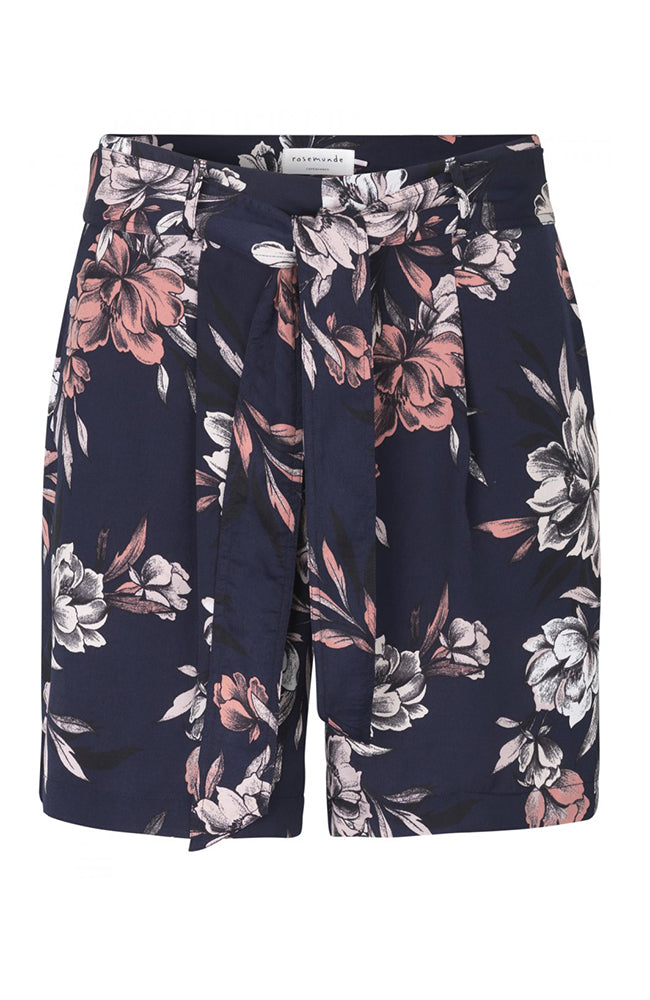 Rosemunde Navy Floral Shorts with Tie at Waist