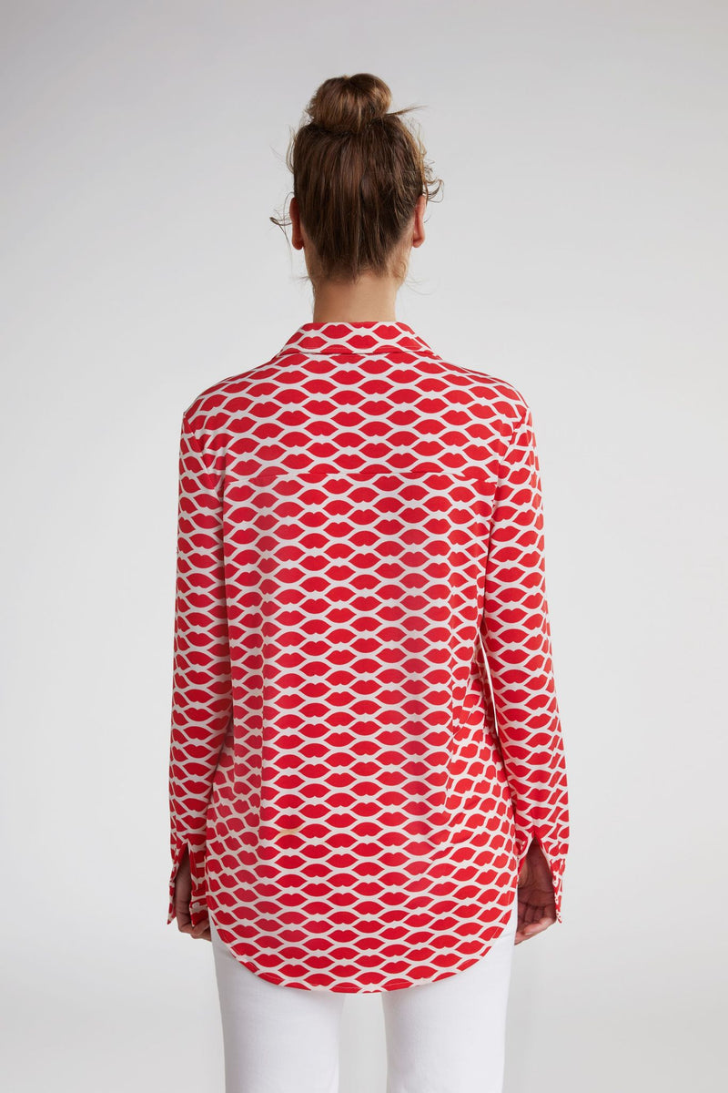 Oui Blouse with Collar Lips Red and White