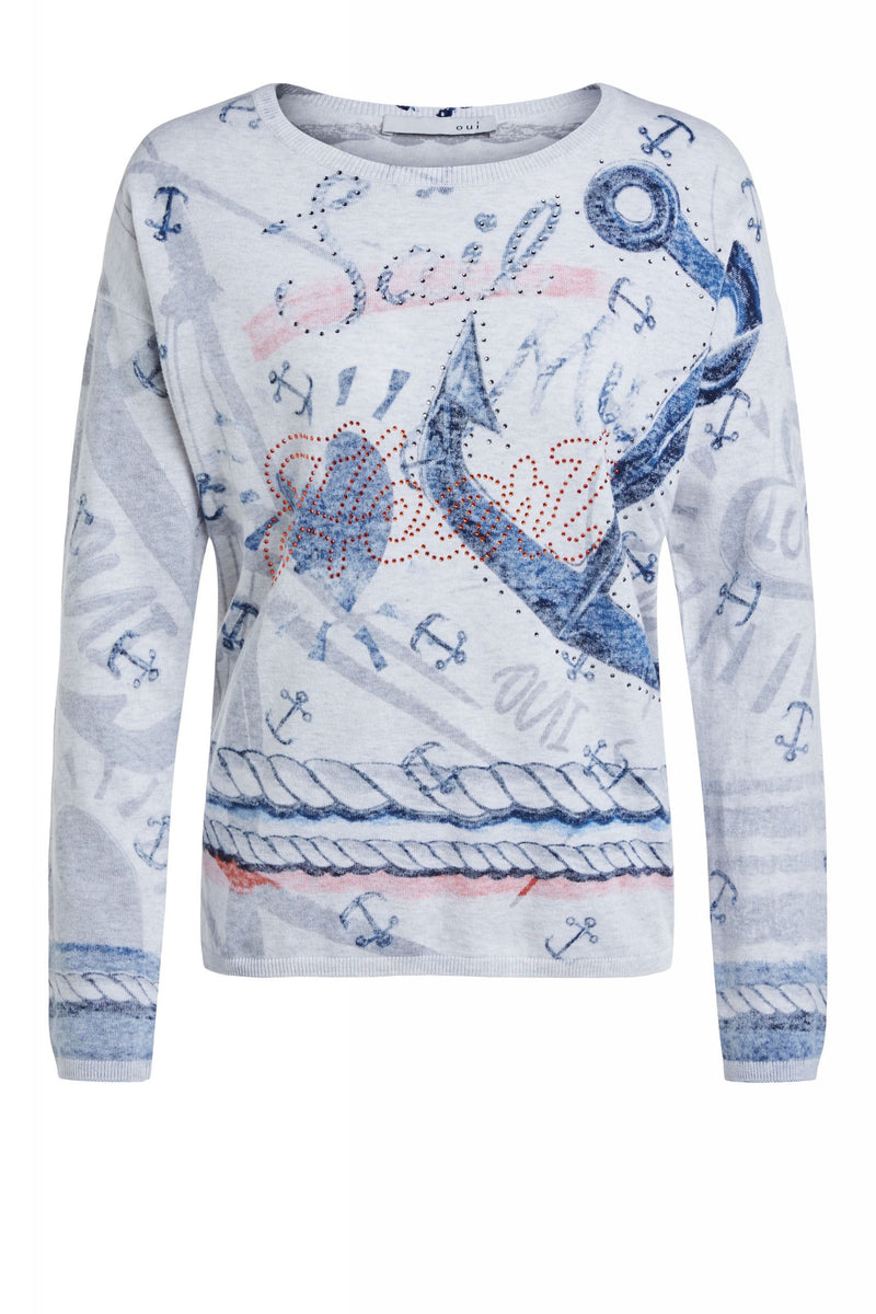 Oui Pullover with Anchor Theme Grey and Red