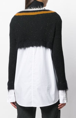 Luisa Cerano Frayed Hem V-Neck Wool Sweater Shirt