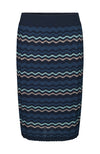 Jupe a rayons bleu Rosemunde Striped Knitted Pencil Skirt with Lurex