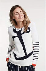 Oui Knitted Pullover White And Blue Nautical