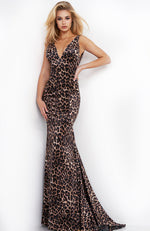 JOVANI Animal Print Formal Prom Dress Evening Gown Mermaid Robe de Bal