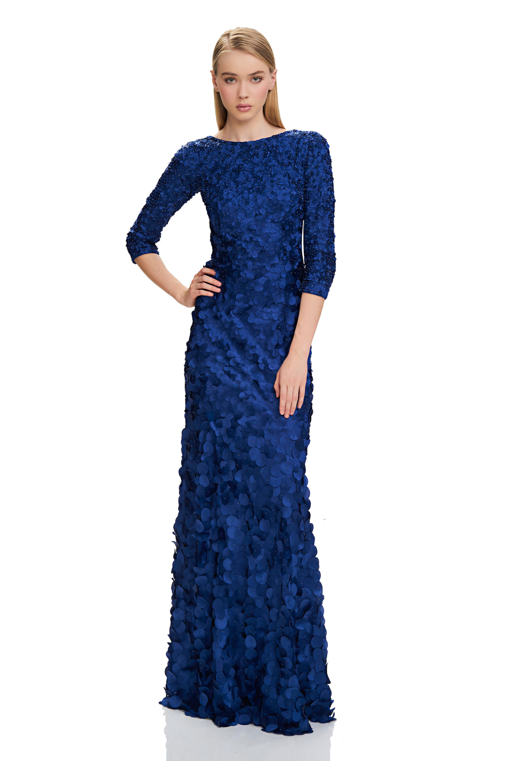 THEIA Mermaid Evening Gown. Robe designer Robe longue de soirée sirene