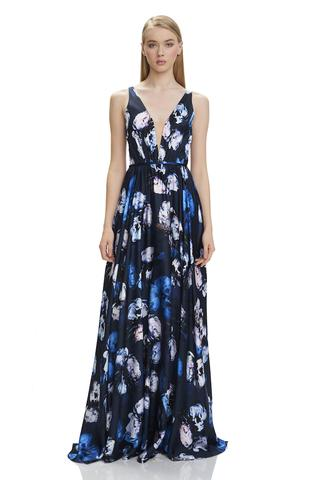 THEIA Floral Evening Gown. Robe de soirée florale designer