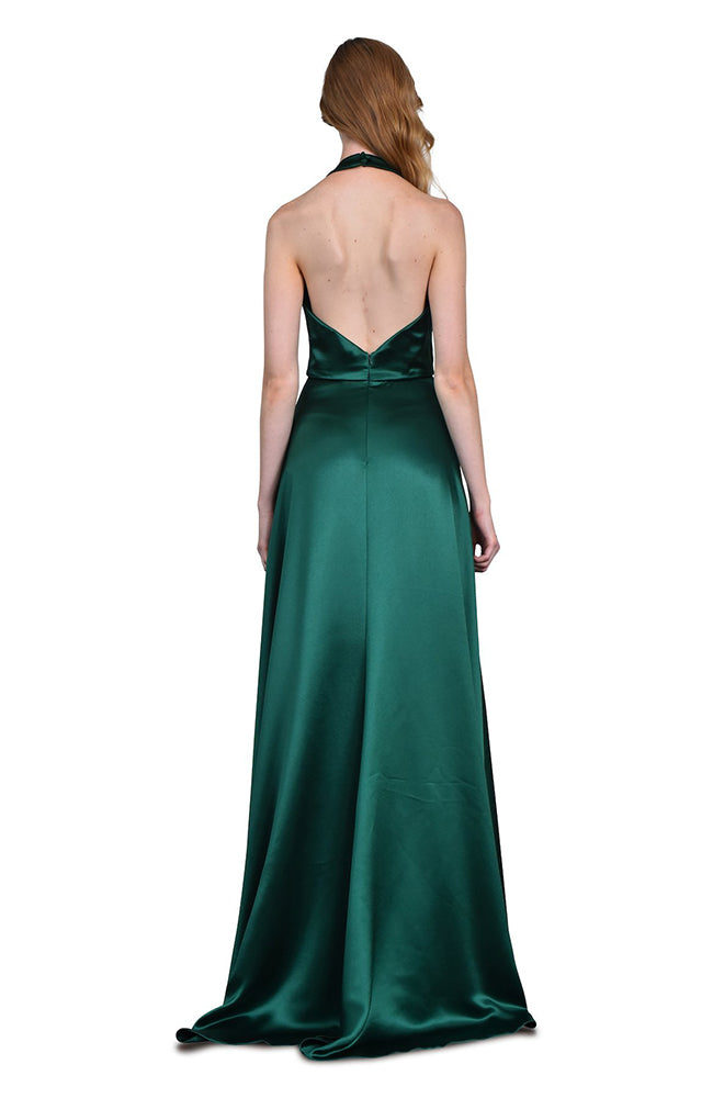 THEIA Halter Gown with Pleated Bust Emerald