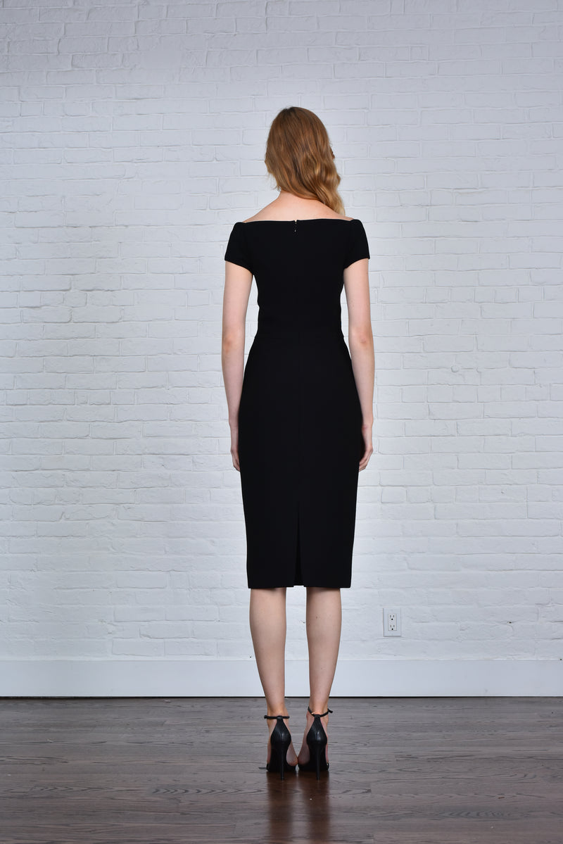 THEIA Sweetheart Cap Sleeve Knit Sheath Cocktail Black Dress