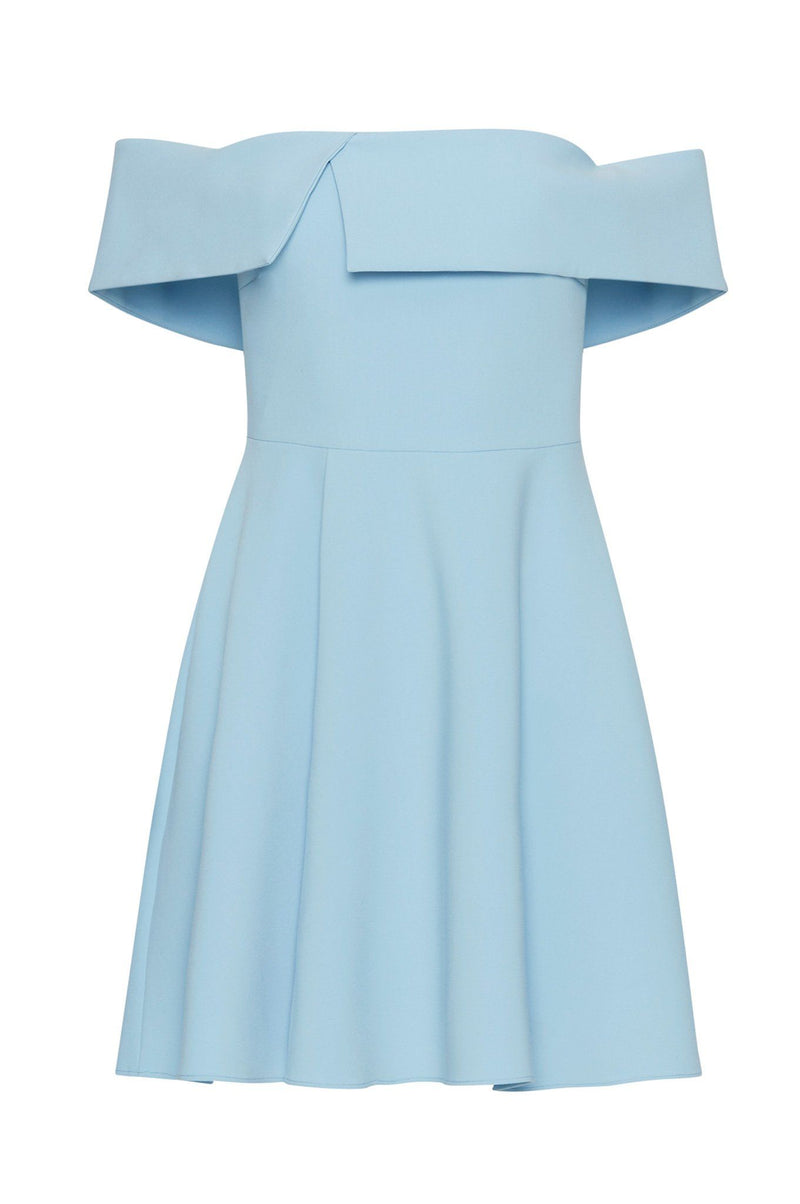 Mini robe de cocktail blue décolleté sans brettelles