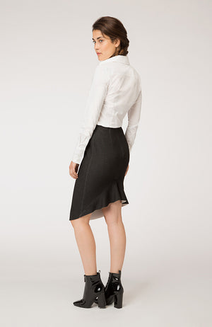 High Low Pencil Skirt with Frill. Jupe crayon à bas volants
