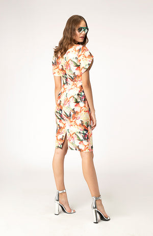 Flower Print Cocktail Dress with Sleeve Detail. Robe de cocktail