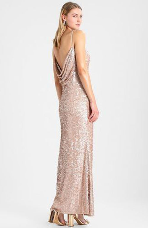 Adrianna Papell High Front Drape Back Nude Sequin Gown