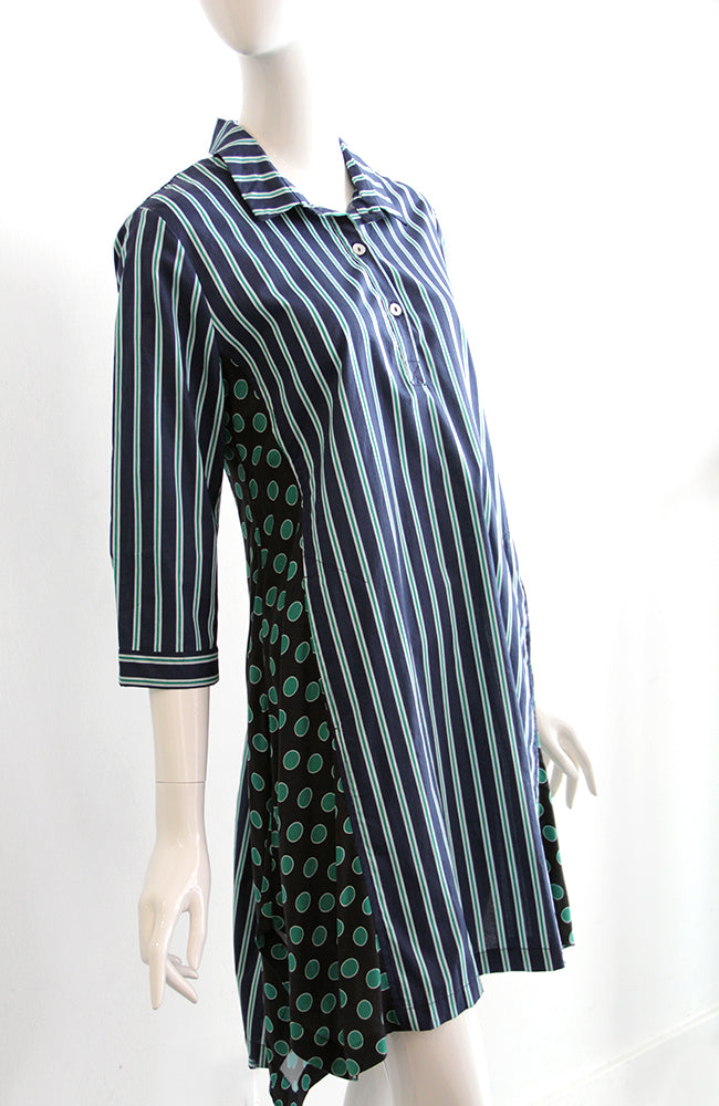 ALEMBIKA Stripe and Circle Print Long Top