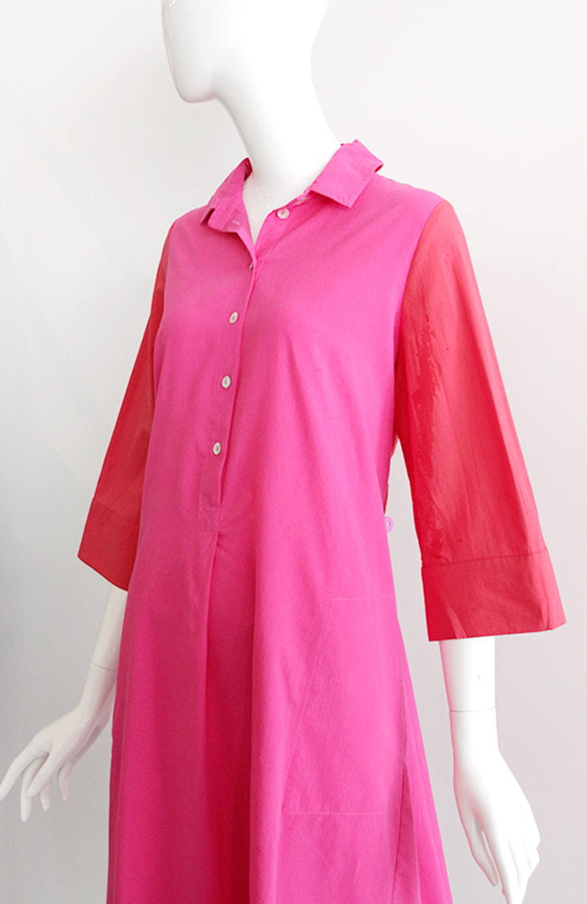 ALEMBIKA Oversized Tunic Dress Fuchsia Red