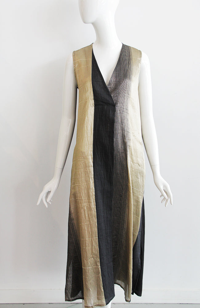 ALEMBIKA Sleeveless Black and Gold Dress