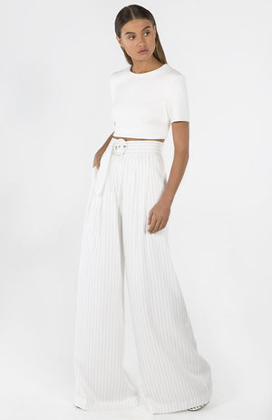 High Rise Vertical Striped Flair Pants with Belt