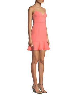 Mini Robe col en v coral designer LIKELY Mini Dress with flounce.
