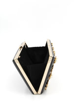 Rectangle Box Shaped Black Clutch with Gold and Pearls