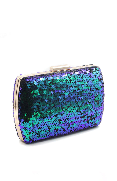 Blue Green Sequin Clutch with Golden Frame
