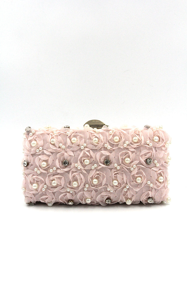 Pink Flower Petal Clutch with Pearls and Beads