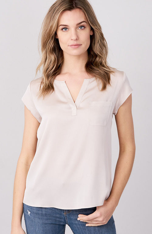 REPEAT Silk V-Neck Blouse with Pocket