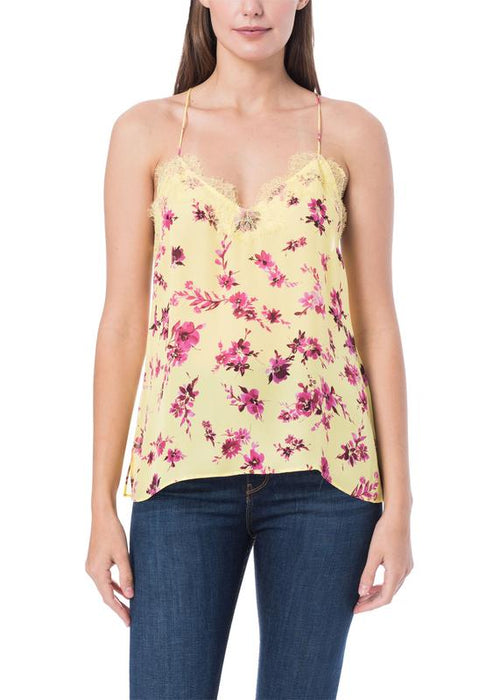 CAMI NYC Racer Georgette Floral Print Camisole with Lace. Cami avec dentelle