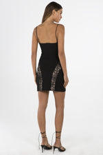 Misha Black Mini Dress with Lace Inserts