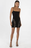 Black Mini Dress with Lace Inserts