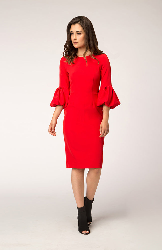 Red Cocktail Dress with Balloon Sleeves Robe de cocktail rouge