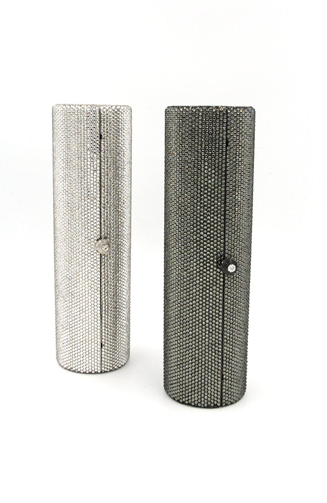 Long Cylinder Encrusted Crystals Clutch Rhinestone Clasp