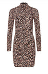 Bali Long Sleeve Fitted Mini Dress Leopard Print Cocktail Party
