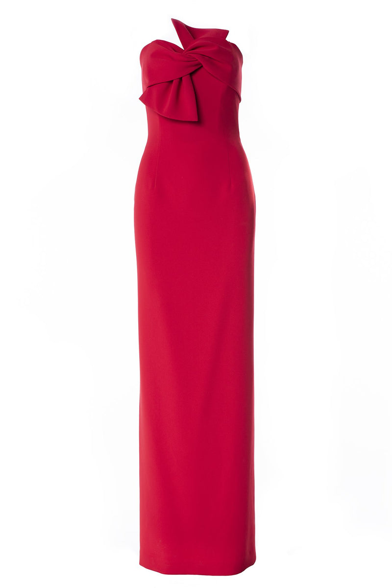 LUCIAN MATIS Strapless Bow Gown. Robe longue avec noeud