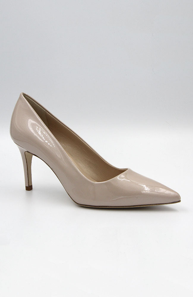 "DEE KELLER Patent Leather Kitty Heel 2.7""/ 70MM Pump Nude. Pompe en cuir verni 70mm"