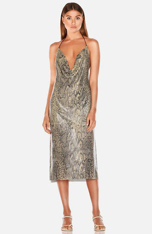 Misha Eryn Metallic Snakeskin Midi Halter Dress. Robe midi