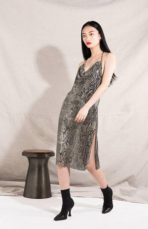 Metallic Snakeskin Midi Halter Dress. Robe midi