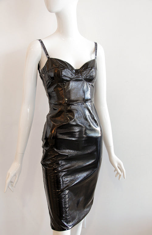Elisabetta Franchi Faux-Leather Cocktail Party Dress