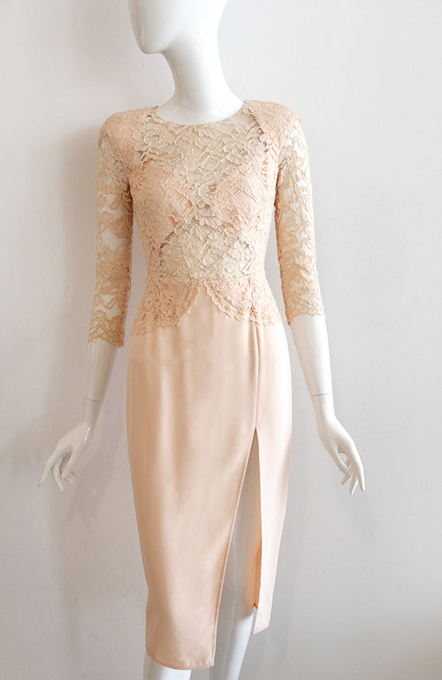 Elisabetta Franchi Long Sleeve Lace Top Dress