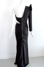 Elisabetta Franchi One Shoulder Gown with Ruffled Long Sleeve