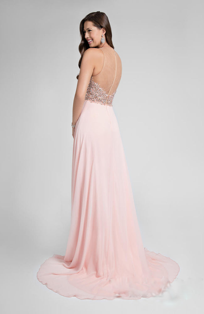 Beaded Bodice Robe de Bal Prom Dress Gown Pink