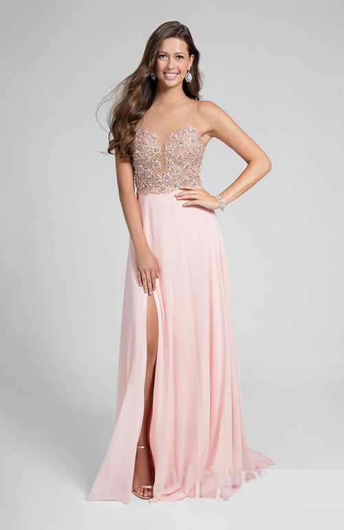 Beaded Bodice Illusion Neck Prom Dress Gown Pink